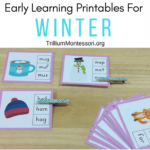 Early learning printables for winter, great for Montessori and preschool