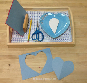 Heart Fold, Trace, and Cut - Trillium Montessori Valentine February Art