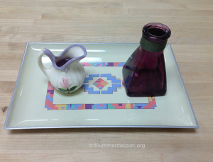 Liquid Pouring Purple Water- Trillium Montessori Fine Motor