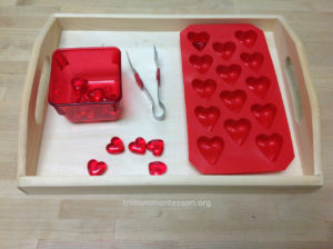 Tongs Transfer Hearts - Trillium Montessori February Valentine Fine Motor
