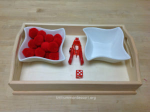 Roll the Dice Clothespin Squeezing - Trillium Montessori Fine Motor