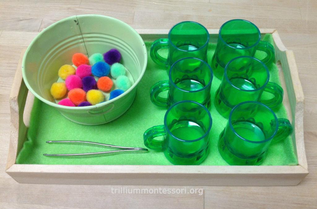 Tweezing Pom poms Trillium Montessori