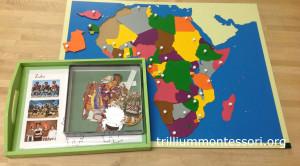African Clothing Paper Dolls and Puzzle Map at Trillium Montessori