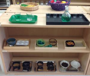 Africa Themed Fine Motor Shelf at Trillium Montessori