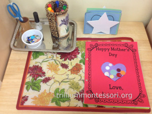 Mothers Day Card Making Work at Trillium Montessori