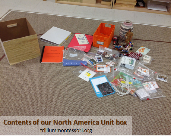 Contents of our North America Unit box