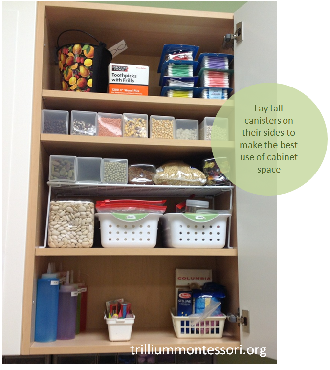 Lay tall canisters on side to maximize cabinet storage