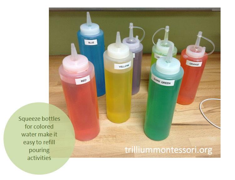 Squeeze bottles for colored water
