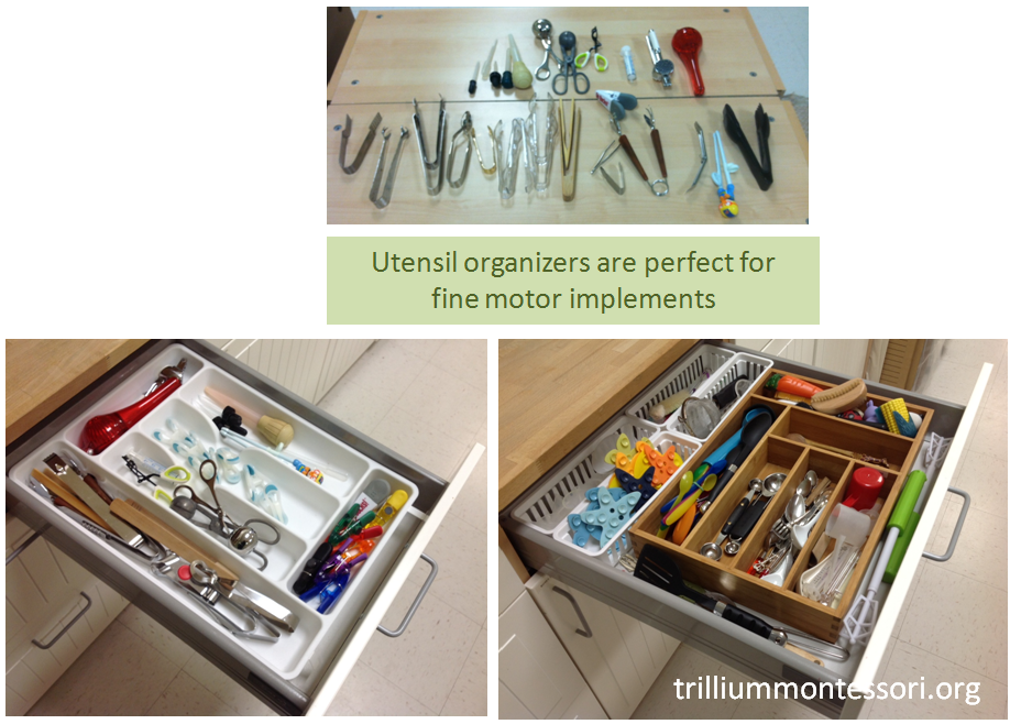 Utensil organizers for fine motor implements