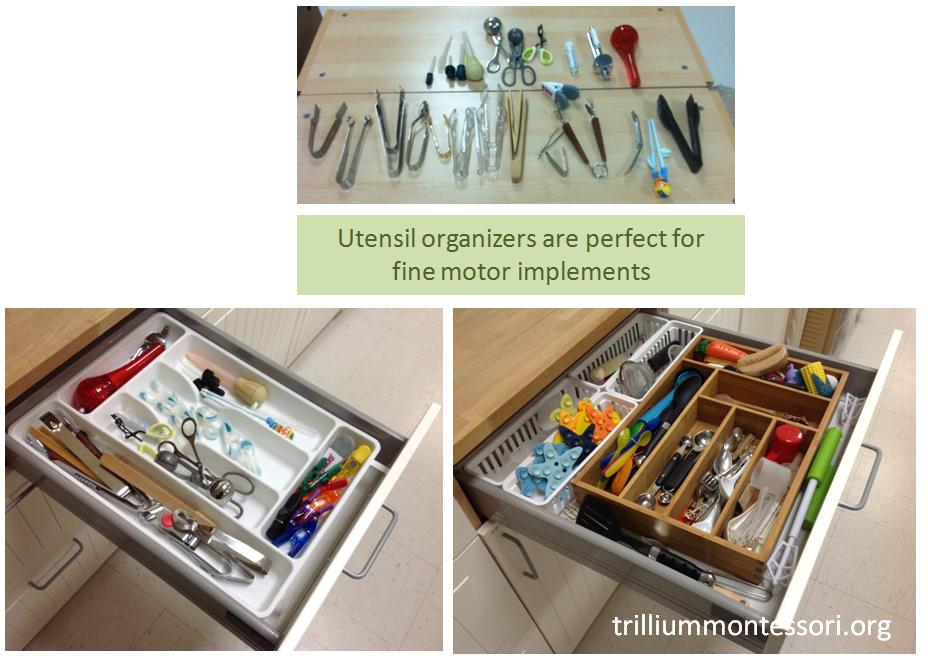 Utensil organizers for fine motor implements