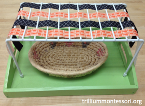 Orange and Black Ribbon Weaving Montessori Fine Motor
