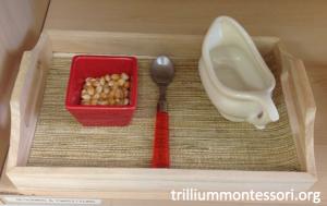 Spooning Corn Montessori Fine Motor