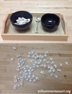Spooning Ghost Lima Beans Montessori Fine Motor