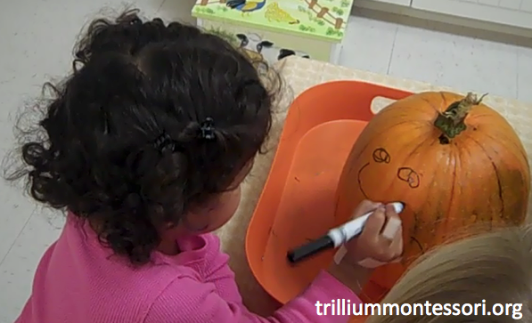 Drawing pumpkin face