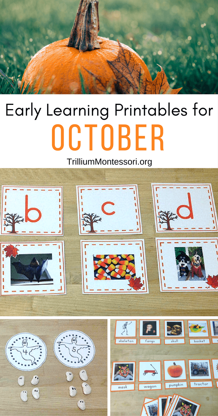 Early Learning Printables for October