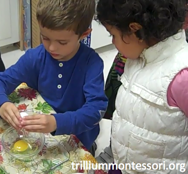 Preschool Thanksgiving Feast- Cracking an Egg