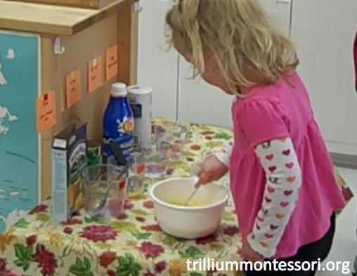 Preschool Thanksgiving Feast- Mixing Cornbread Ingredients