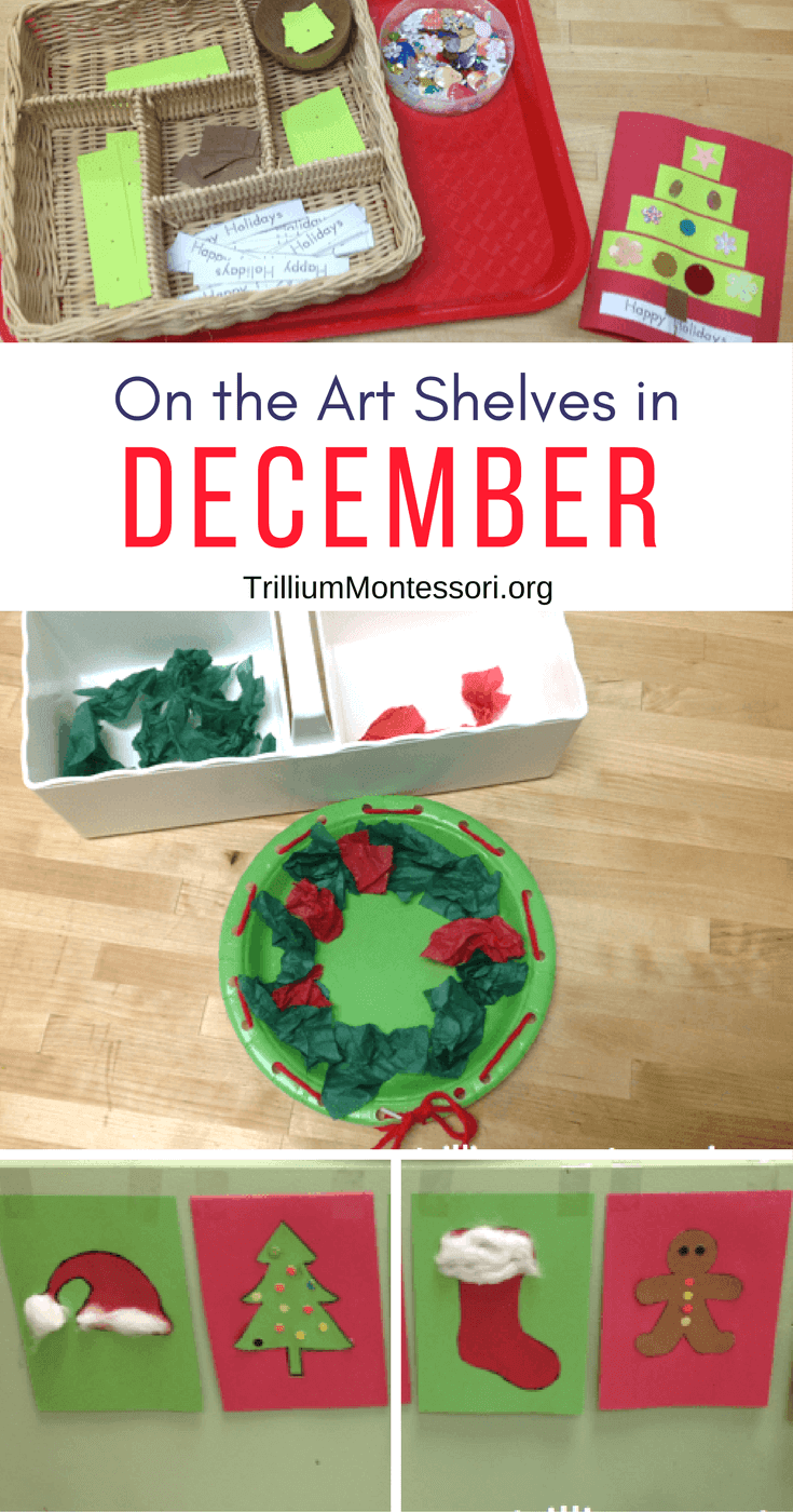 Simple preschool art skills for Christmas and December