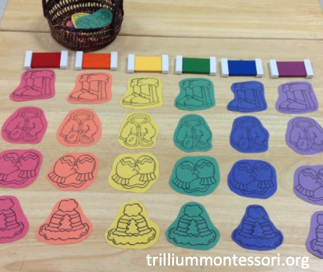 Clothes Sorting By Color ~ Montessori and preschool printables for winter trillium