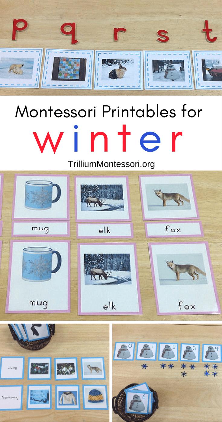 Montessori preschool printables for winter and January