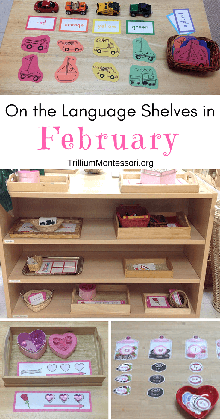 Preschool and Montessori language activities for February and a valentine theme