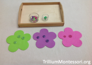 Spring Flower Button Roll and Sort