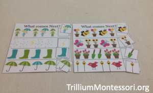 Spring Theme Pattern Cards from 3 Dinosaurs