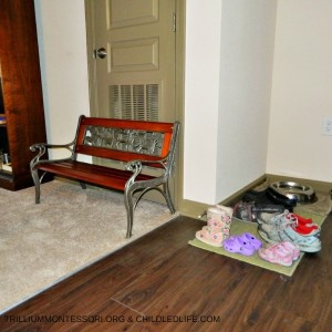 Small Space Montessori Setup Entryway