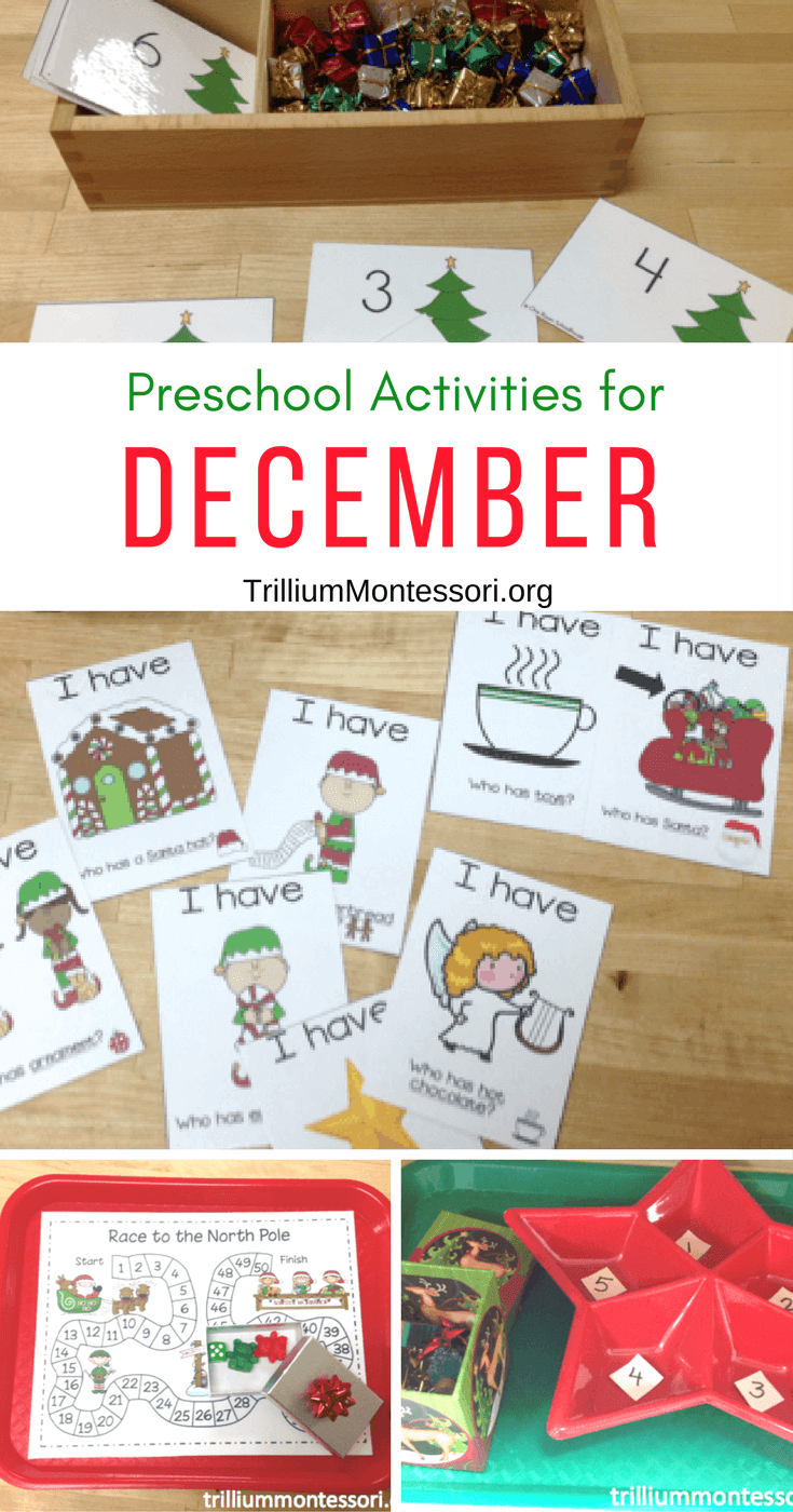 Classroom Organisation Ideas ~ December activities for preschool trillium montessori