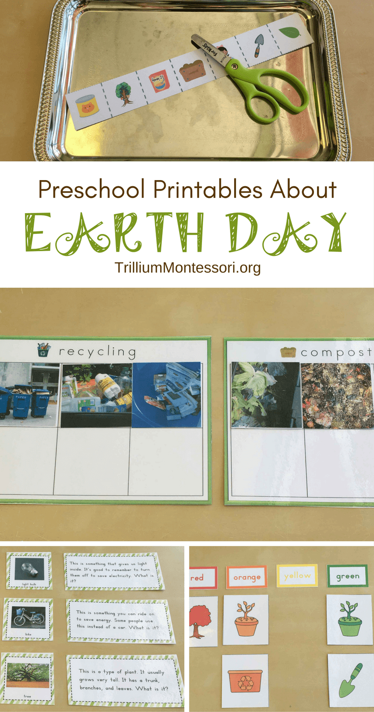 Preschool printables for an Earth Day theme