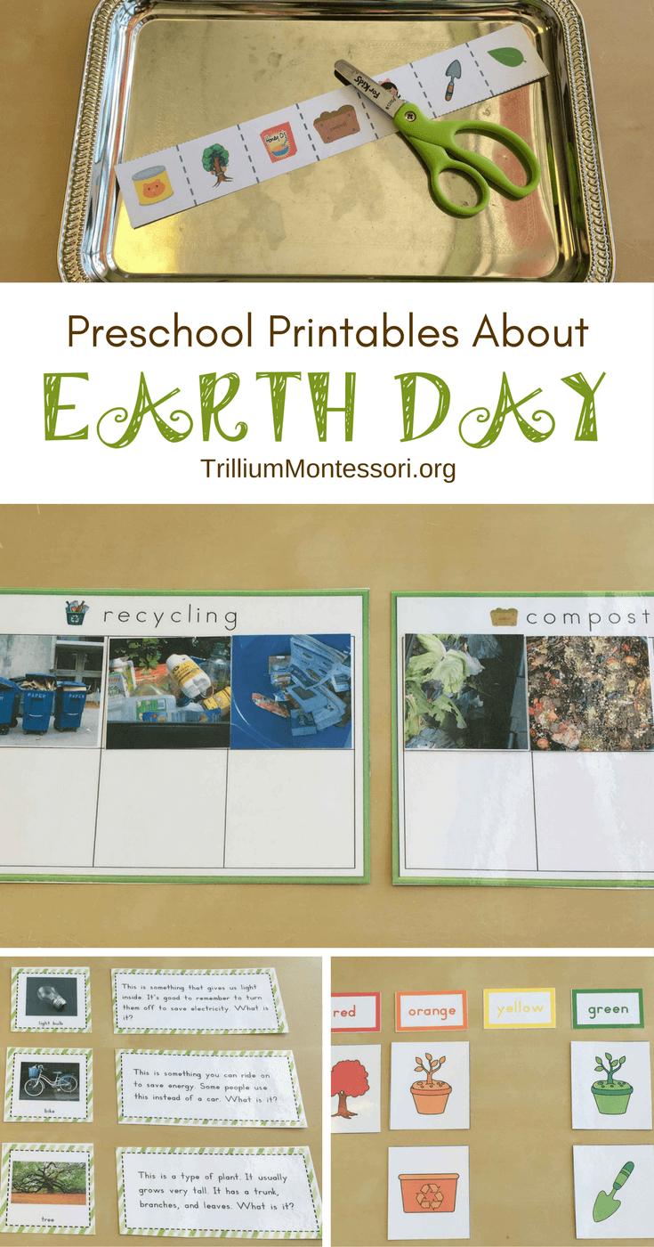 Preschool printables for an Earth Day theme