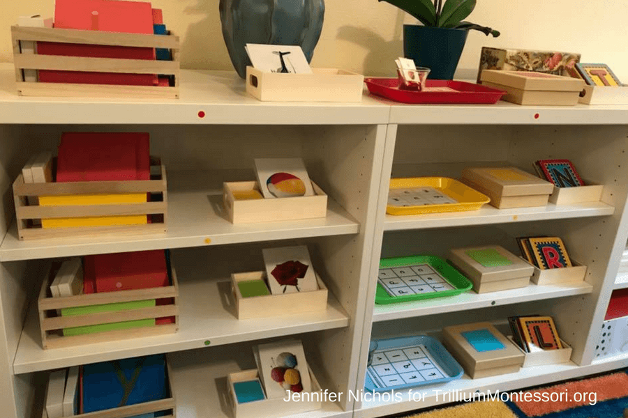 These Shelves Hold The Sandpaper Letters And Initial Sound Materials