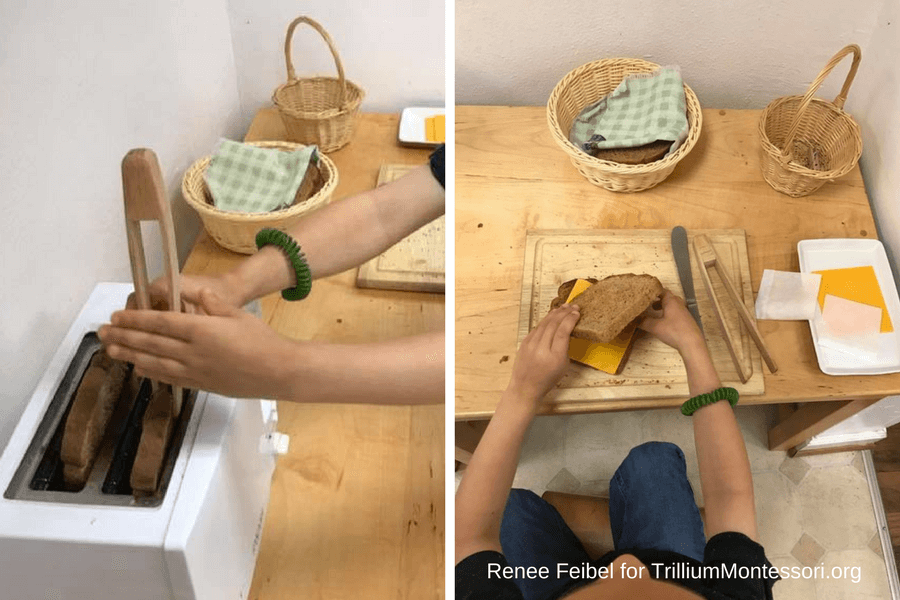 Montessori Food Preparation and Cooking Making a Grilled Cheese Sandwich