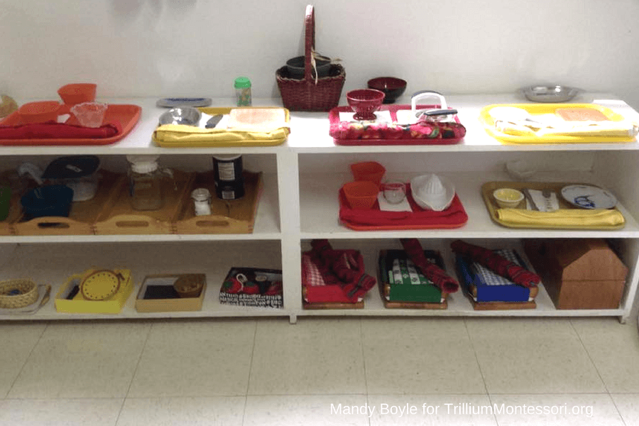 Montessori Food Preparation and Cooking Shelf