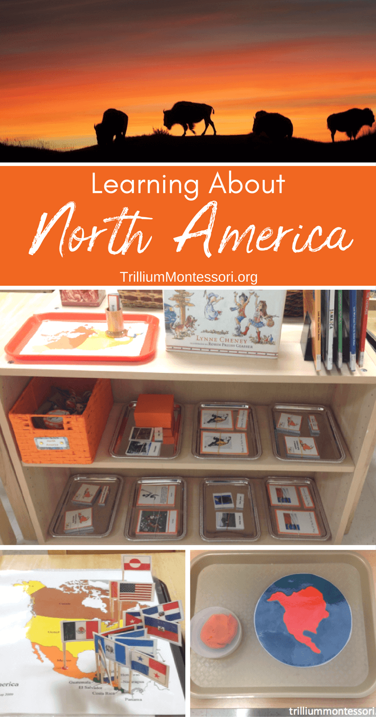 Montessori preschool activities for learning about North America
