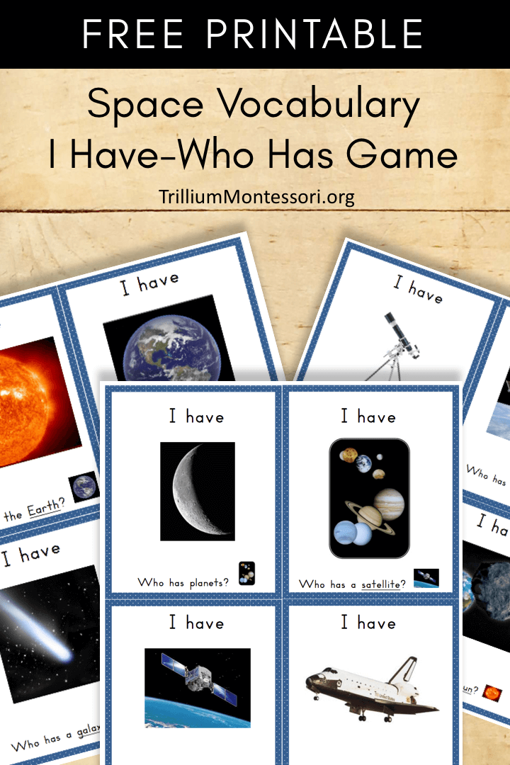 Free Printable Space vocabulary I have who has cards