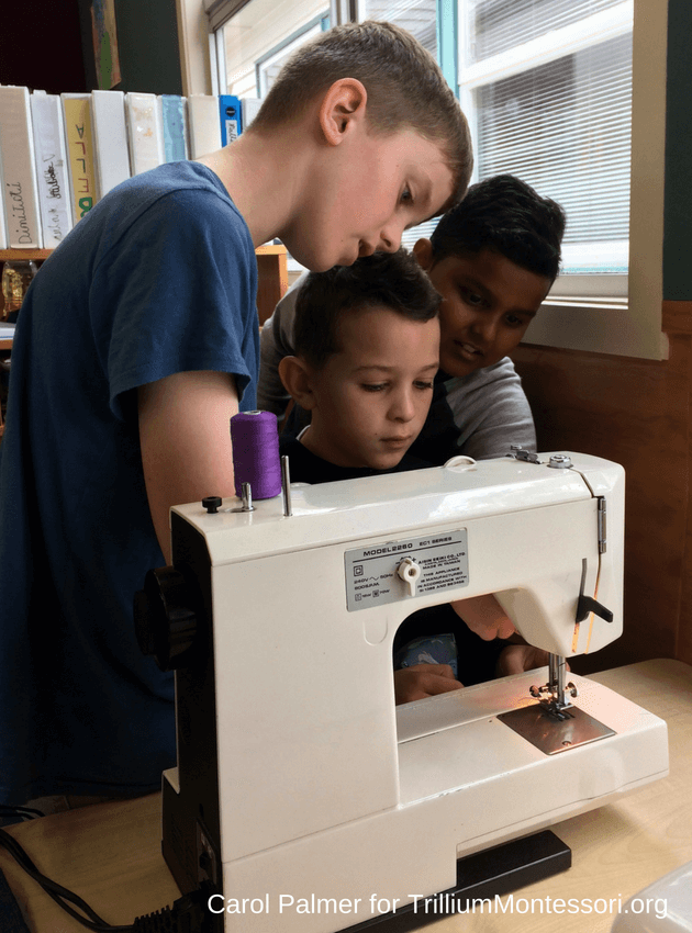 Sewing machine in the Montessori elementary classroom