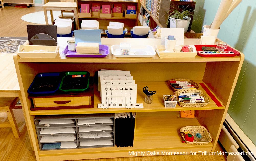 Erin's Montessori Classroom Setup Art Shelf