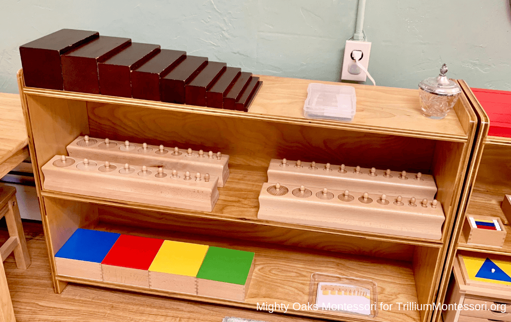 Erin's Montessori Classroom Setup Brown Stair and Knobbed Cylinders