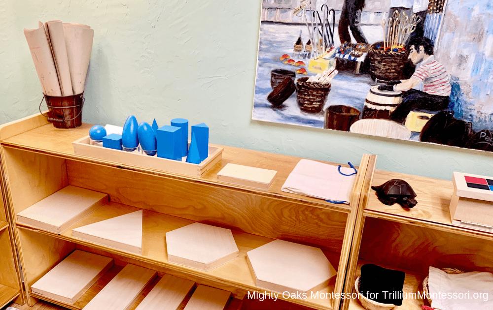 Erin's Montessori Classroom Setup: Sensorial- geometric solids and triangle boxes
