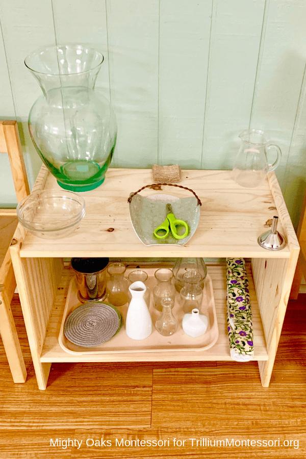Erin's Montessori Classroom Setup Flower Arranging stand